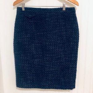 J, Crew blue tweed No. 2 wool pencil skirt 8